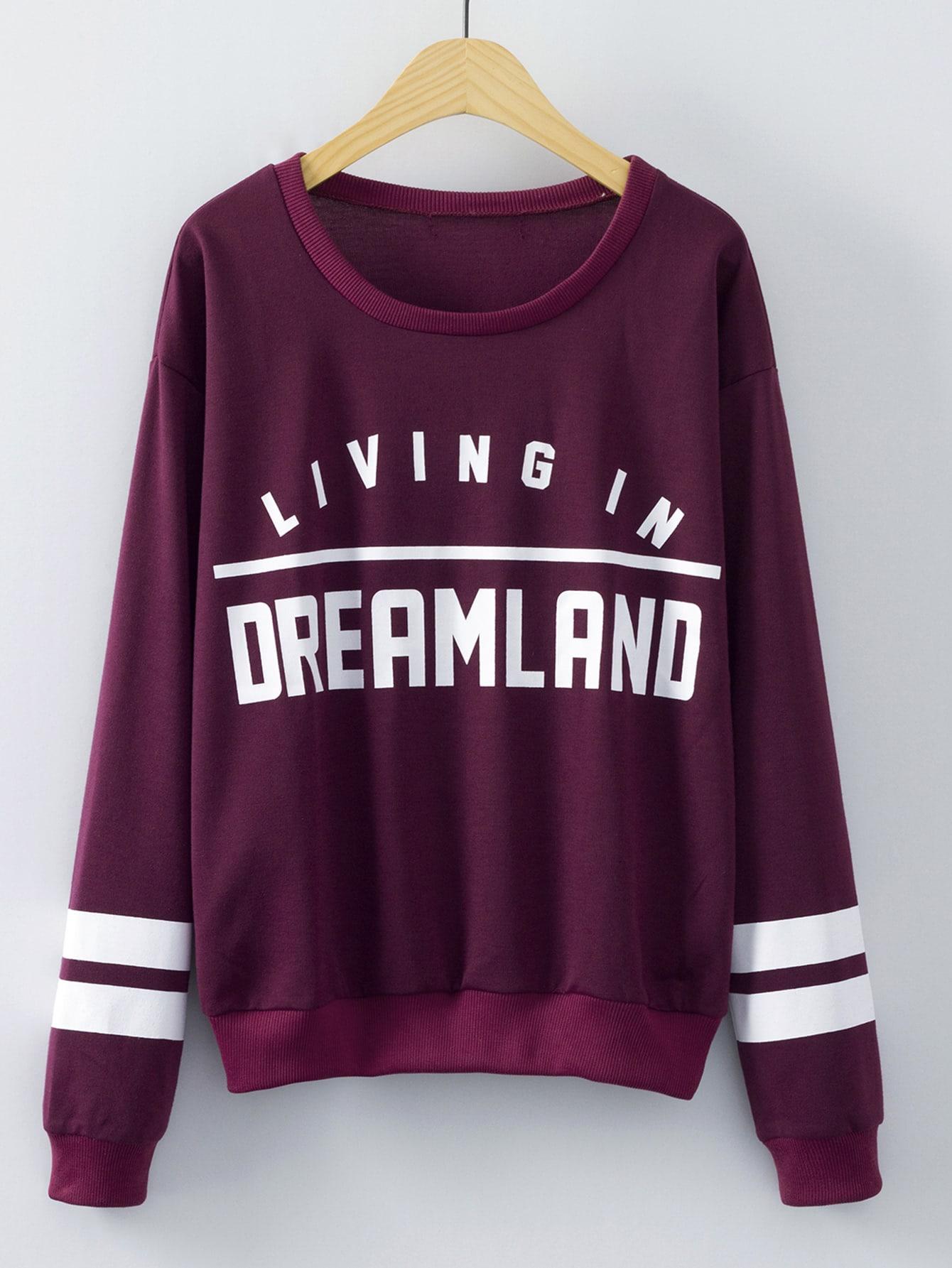 Burgundy Round Neck Letters Print Sweatshirt sweatshirt150904208