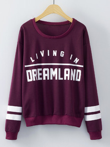 Wine Red Round Neck Patterns Letters Print Sweatshirt