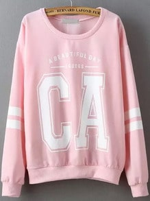Pink Round Neck Letters Patterns Print Sweatshirt