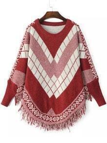 Red White Batwing Long Sleeve Tassel Sweater