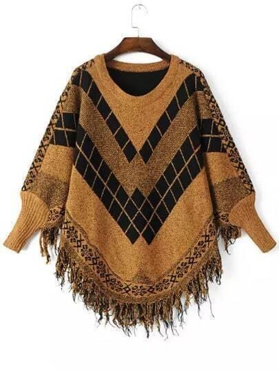 Yellow Black Batwing Long Sleeve Tassel Sweater