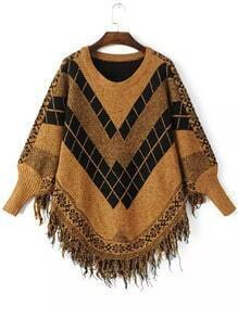 Yellow Black Batwing Long Sleeve Tassel Sweater