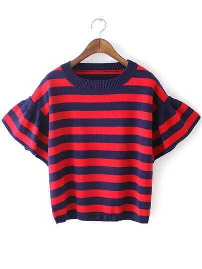 Red Blue Bell Sleeve Striped Knit Sweater
