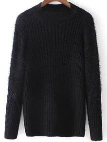 Black Round Neck Shaggy Loose Sweater