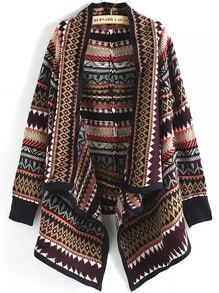 Multicolor Geometric Print Loose Cardigan