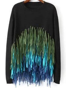 Black Round Neck Tassel Knit Sweater