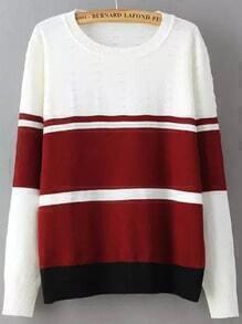 Colour-block Round Neck Knit Sweater