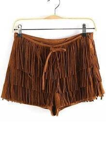 Khaki Tassel Casual Shorts