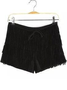 Black Tassel Casual Shorts