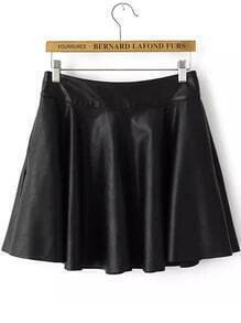 Black Casual Ruffle PU Skirt