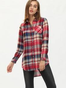 Multicolour Long Sleeve Lapel Grid Blouses Plaid Dress