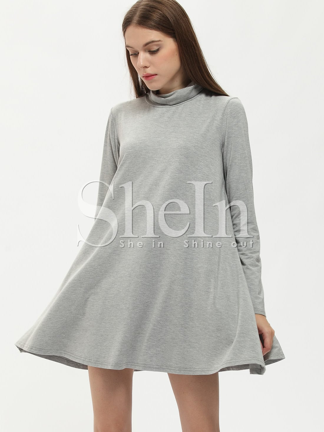 Grey Long Sleeve Casual Dress dress150907506