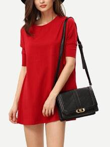 Wine Red Half Sleeve Casual Dress