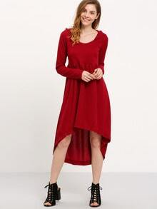 Wine Red Hooded Hoodie Asymetric Long Sleeve High Low Dress