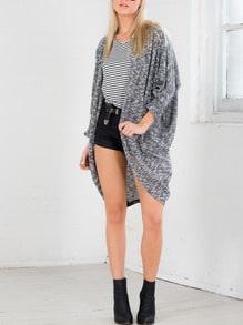 Grey Long Sleeve Loose Knit Cardigan