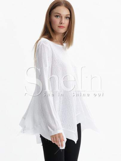 White Long Sleeve Asymmetric T-shirt