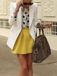 White Long Sleeve Lapel With Button Blazer