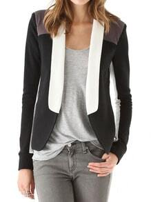 Black Long Sleeve Lapel Color Block Blazer