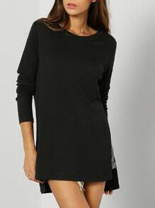 Black Long Sleeve Split T-Shirt