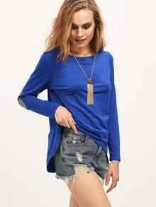Blue Dip Hem Loose Top