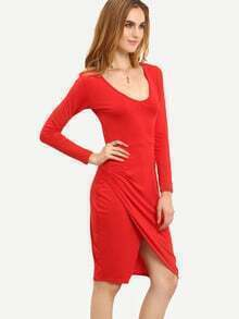 Red Ruby Deep Plunge Neck Slit Hearts Bodycon Dress