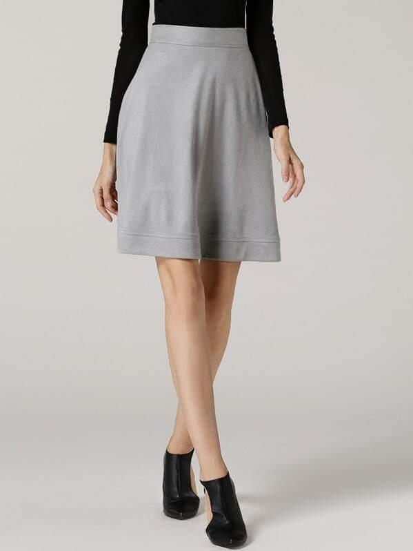 Grey High Waist A Line Skirt