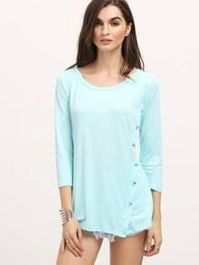 Mint Green Round Neck Side Buttons T-Shirt