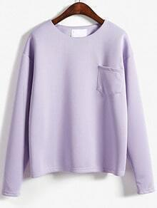 Light Purple Round Neck Pocket Loose Sweatshirt