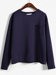 Purple Round Neck Pocket Loose Sweatshirt