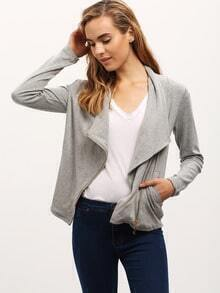 Gray Asymmetrical Jacket With Zipper