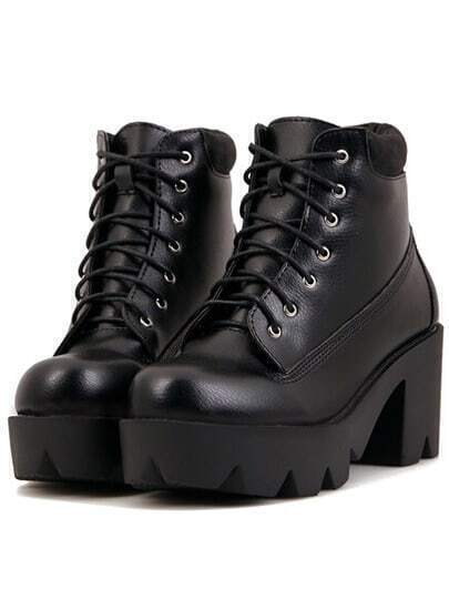 Black Casual Chunky Heel Hidden Platform Boots