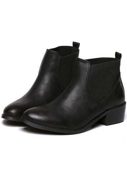 Black Chunky Heel Almond Toe PU Boots