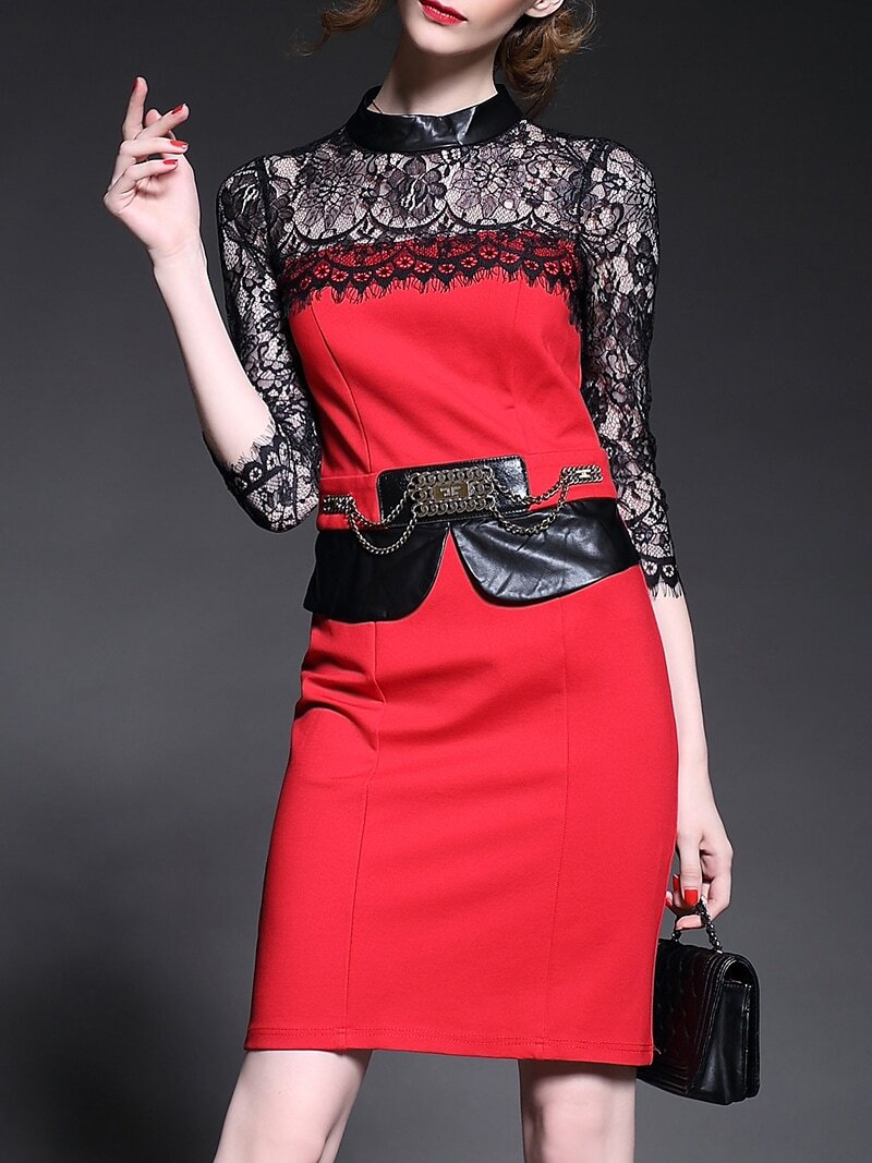 Red Stand Collar Length Sleeve Contrast PU Lace Dress