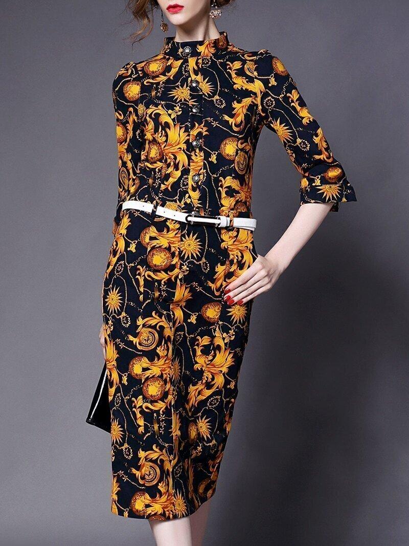 Yellow Stand Collar Half Sleeve Drawstring Pockets Print Dress