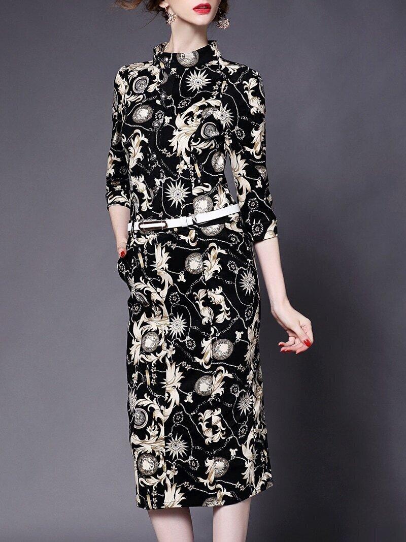 Apricot Stand Collar Half Sleeve Drawstring Pockets Print Dress