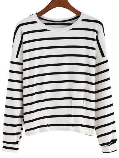 White Black Round Neck Slim Striped T-Shirt