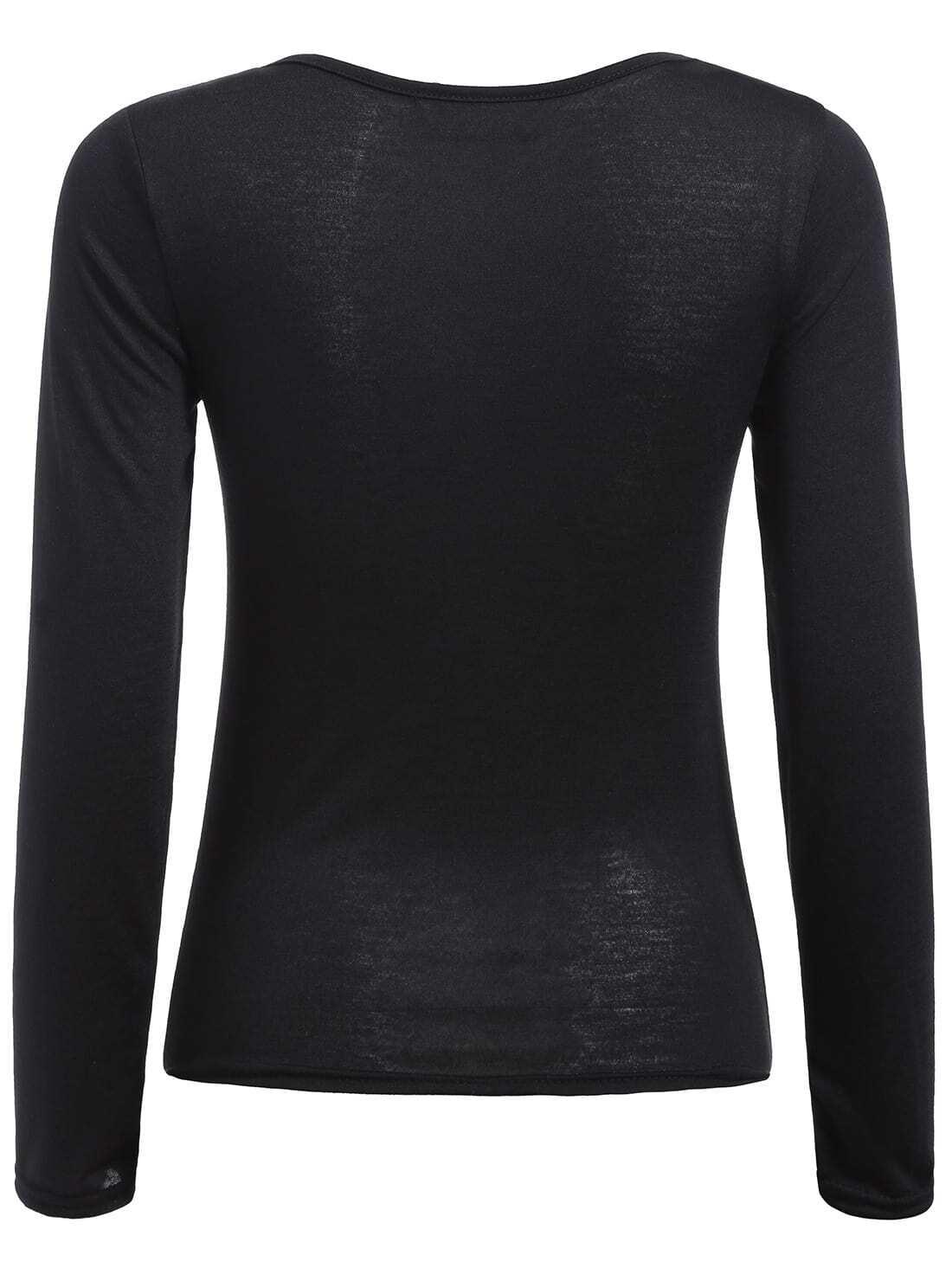 Black scoop neck long sleeve slim t shirt shein sheinside for Long sleeve scoop neck shirt