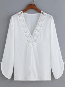 White V Neck Floral Crochet Chiffon Blouse