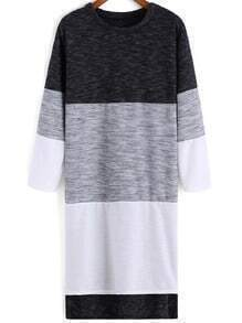 Colour-block Round Neck High Low Dress