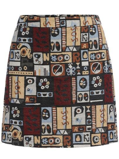 Multicolor Slim Geometric Print Skirt