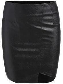 Black Slim Bodycon PU Skirt