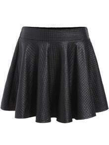 Black Pleated PU Flare Skirt