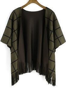 Army Green Plaid Tassel Cape