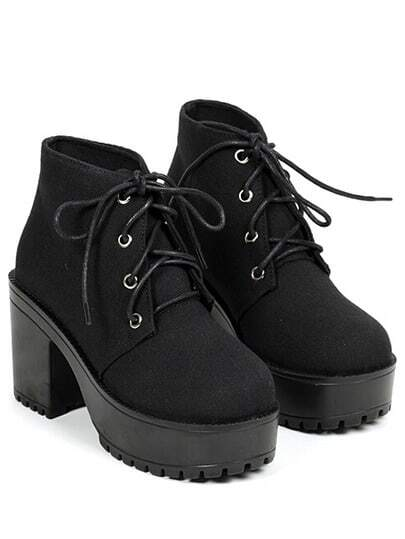 Black Chunky High Heel Casual Boots