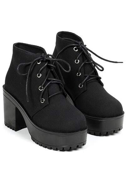 Boots Casual mit Blockabsätzen-schwarz