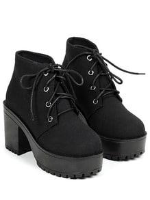 Black Chunky High Heel Casual Boots