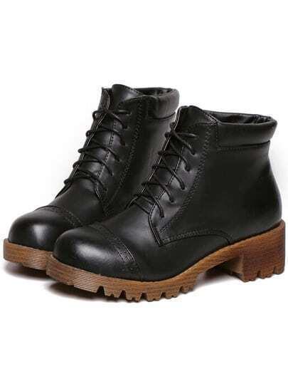 Black Casual Chunky Heel PU Boots