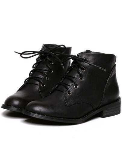 Black Fashion Chunky Heel PU Boots