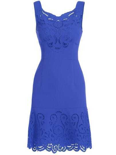 Blue Round Neck Sleeveless Hollow Embroidered Dress