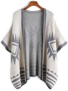Apricot Batwing Sleeve Geometric Print Knit Cardigan